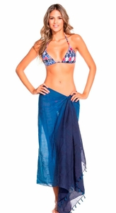 Ombre Blue Cotton Voile Sarong