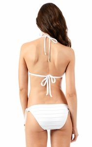 White Pleated String Bikini Bottom