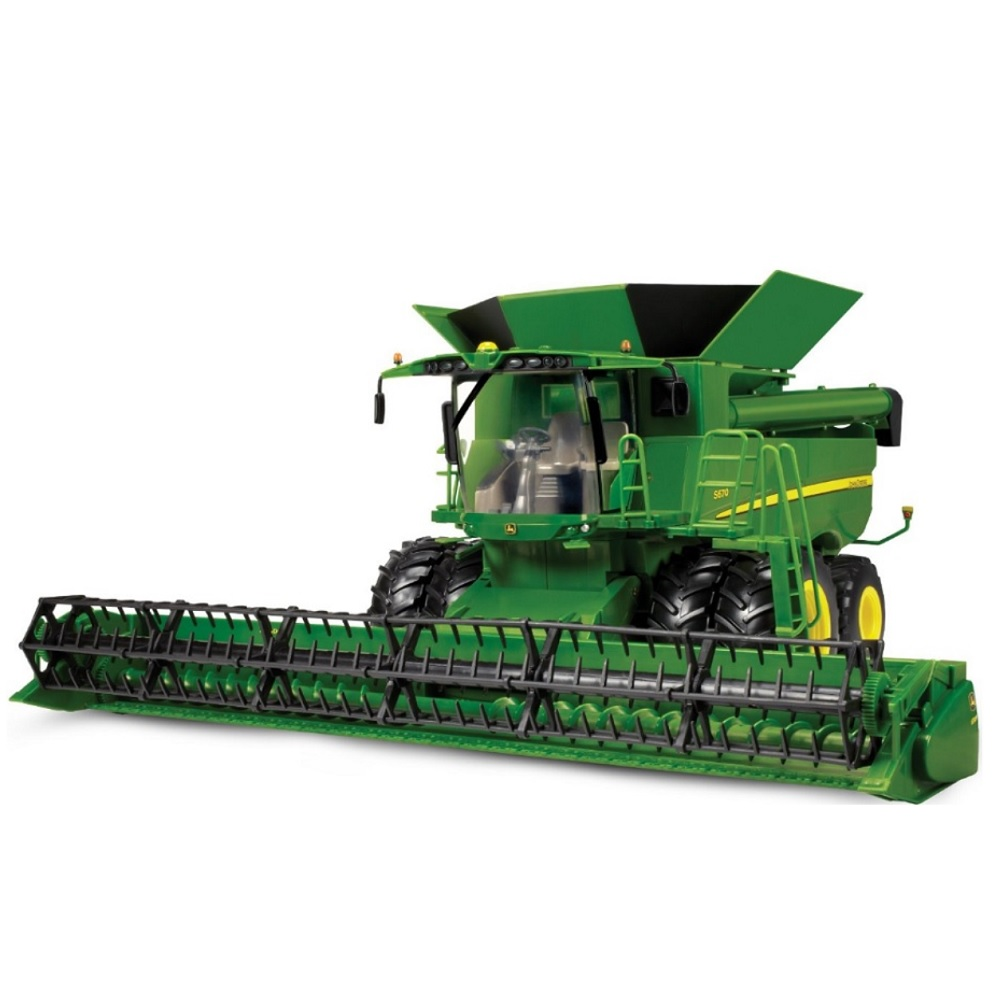 This toy named JD S670 Combine 1:16 Scale features officially licensed packaging by John Deere ERTL.