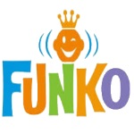 Funko logo with crown, king of Pop vinyl figures.