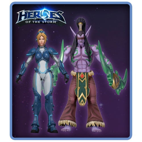Nova Terra & Illidan Stormrage, 7 inch action figures stand side by side from Warcraft & StarCraft made by NECA.