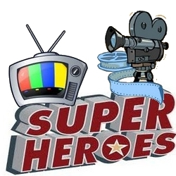 Cartoon television tv with movie camera and film projector on super heroes logo.