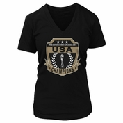 2015 FIFA Women's World Cup Fifth Sun Ladies' Champions V-Neck Tee - Black