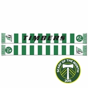 <b><i>Limited Edition</i></b> - Portland Timbers Ruffneck Shield Logo Bar Scarf - Green/White <br><b><i>Exclusive Scarf of the Month: August 2015</i></b>
