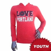 Portland Thorns FC Garb Youth Girls Love Portland Long Sleeve Hooded Tee - Red