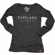 Portland Thorns FC Sportiqe Women's Long Sleeve Comfy Scoop Tee - Black