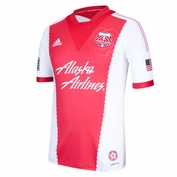 Portland Timbers adidas 2013-2014 Authentic Short Sleeve Secondary Jersey - Red/White