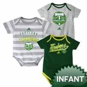 Portland Timbers adidas Infant Hat Trick Body Suit Onesie Set (3 pc)