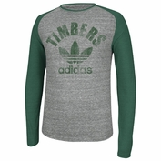 Portland Timbers adidas Originals Large Trefoil Long Sleeve Raglan Triblend Tee - Grey/Green