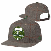 Portland Timbers adidas Originals Plaid Flat Brim Snapback Cap - Brown
