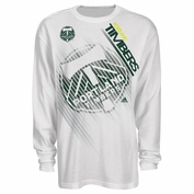 Portland Timbers adidas Primary Logo Striped Thermal Long Sleeve Tee - White