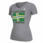 Portland Timbers adidas Women's City Flag Triblend Tee - Grey