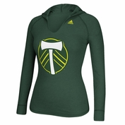 Portland Timbers adidas Women's Secondary Logo Long Sleeve Hooded Tee - Green