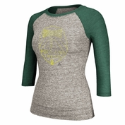 Portland Timbers adidas Women's Triblend Wood-Grain 3/4 Sleeve Raglan Tee - Grey/Green