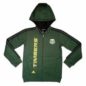 Portland Timbers adidas Youth Attack 3-Stripe Full Zip Jacket - Green/Black