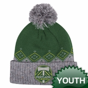 Portland Timbers adidas Youth Cuffed Winter Pom Knit Hat - Green