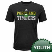 Portland Timbers adidas Youth Delineated Triblend Tee - Charcoal