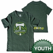 Portland Timbers adidas Youth Girls Pump It Up Triblend Tee - Green
