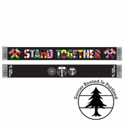 Portland Timbers & Portland Thorns FC Stand Together Diversity Scarf 2.0 - Black <br><b><i>Pre-Order: Will Ship August 6th</i></b>