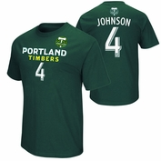 Portland Timbers Will Johnson #4 Name & Number Tee - Green