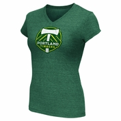 Portland Timbers Womens Distressed Logo V-Neck Tee - Green