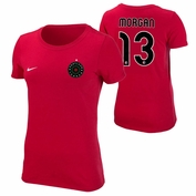 Portland Thorns FC Nike Women's Alex Morgan #13 Replica Tee - Red
