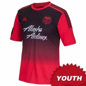 Portland Timbers adidas 2015 Youth Replica Short Sleeve Secondary Jersey - Red/Black <br><b><i>Choose a player or Personalize your jersey!</i></b>