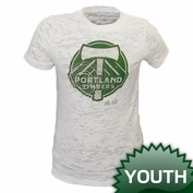 Portland Timbers adidas Youth Girls Angle Burnout Tee - White
