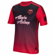 Portland Timbers adidas 2015 Authentic Short Sleeve Secondary Jersey - Red/Black <br><b><i>Choose a player or Personalize your jersey!</i></b>