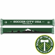 <i>Pre-Order: Ships March 2nd</i> - Portland Timbers Ruffneck Mt. Hood Cityscape Scarf - Green/White<br><b><i>Exclusive 2014 Scarf of the Month Fan Vote Winner</i></b>