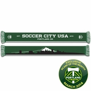 <i>Pre-Order: Ships March 1st</i> - Portland Timbers Ruffneck Mt. Hood Cityscape Scarf - Green/White<br><b><i>Exclusive 2014 Scarf of the Month Fan Vote Winner</i></b>