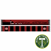 Portland Timbers Ruffneck Broadway Bridge & Union Station Scarf - Red/Black <br><b><i>Exclusive Scarf of the Month: August 2014</i></b>