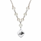 Akron Zips Heart Charm Pearl Drop Necklace