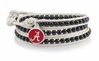 Alabama Crimson Tide Black and White Wrap Bracelet