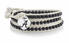 Alabama Heart on Black Wrap Bracelet