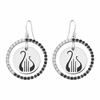 Alpha Chi Omega Lyre Black and White CZ Circle Earrings