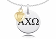 Alpha Chi Omega Necklace With Gold Heart Charm Accent