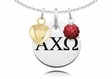 Alpha Chi Omega Necklace with Heart and Crystal Ball Accents