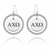 Alpha Chi Omega White CZ Circle Earrings