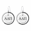 Alpha Delta Pi Black and White CZ Circle Earrings