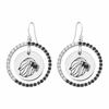 Alpha Delta Pi Lion Black and White CZ Circle Earrings