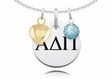 Alpha Delta Pi Necklace with Heart and Crystal Ball Accents