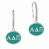 Alpha Delta Pi Sterling Silver and CZ Drop Earrings