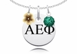 Alpha Epsilon Phi Necklace with Flower and Crystal Ball Accents