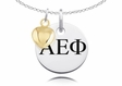 Alpha Epsilon Phi Necklace With Gold Heart Charm Accent