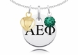 Alpha Epsilon Phi Necklace with Heart and Crystal Ball Accents