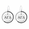 Alpha Gamma Delta Black and White CZ Circle Earrings