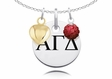 Alpha Gamma Delta Necklace with Heart and Crystal Ball Accents
