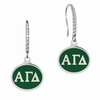 Alpha Gamma Delta Sterling Silver and CZ Drop Earrings