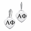 Alpha Phi CZ Cluster Heart Earrings